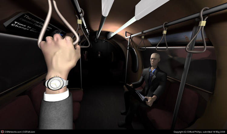 Image is of a stylised tube train. A business man with exagerated tired features looks up from his paper.