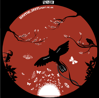 This design is a round design, which features a swarm of butterflies appearing out of a white sun at the bottom on a red background.