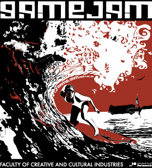 Square design featuring a woman surfing (representing sports games)